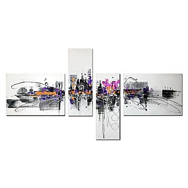cheap Wall Art-Oil Painting Hand Painted - Abstract Architecture Comtemporary Modern Stretched Canvas / Four Panels