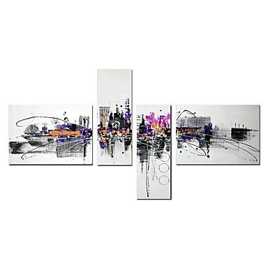 povoljno Ulja na platnu-Hang oslikana uljanim bojama Ručno oslikana - Sažetak Arhitektura Comtemporary Moderna Uključi Unutarnji okvir / Četiri plohe / Prošireni platno