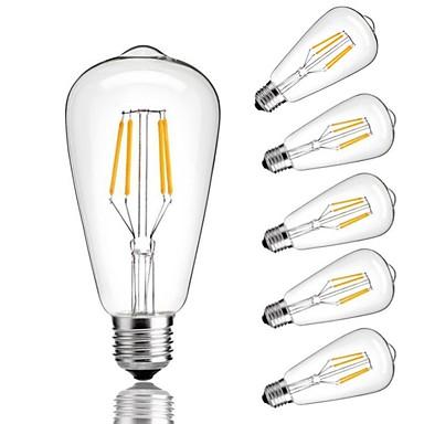 preiswerte LED Glühbirnen-6pcs 4 W LED Glühlampen 360 lm E26 / E27 ST64 4 LED-Perlen COB Dekorativ Warmes Weiß Kühles Weiß 220-240 V / RoHs