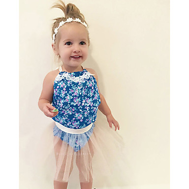 povoljno Odjeća za bebe-Dijete koje je tek prohodalo Djevojčice Boho Praznik Izlasci Cvjetni print Žakard Čipka Otvorena leđa Vintage Style Bez rukávů Regularna Jednodijelno Plava