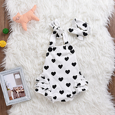 preiswerte Einteiler für kleine Mädchen-Baby Mädchen Alltag Druck Mehrlagig / Herz / Stilvoll Ärmellos Body Weiß / Niedlich