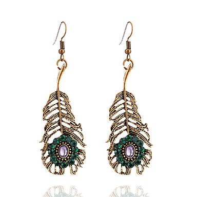 Γυναικεία Κρεμαστά Σκουλαρίκια Leaf Shape κυρίες Βίντατζ Μοντέρνα Προσομειωμένο διαμάντι Σκουλαρίκια Κοσμήματα Χρυσό Για Καθημερινά Εξόδου