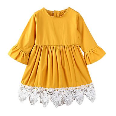 Νήπιο Κοριτσίστικα Απλός Καθημερινό Καθημερινά Εξόδου Μονόχρωμο Patchwork Λουλούδι Με Βολάν Κομψό Φόρεμα Κίτρινο / Βαμβάκι