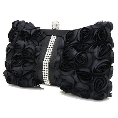 Γυναικεία Βολάν Μετάξι Βραδινή τσάντα Λευκό / Μαύρο