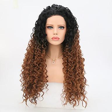 Συνθετικές μπροστινές περούκες δαντέλας Σγουρά Σγουρά Δαντέλα Μπροστά Περούκα Μακρύ Μαύρο / Medium Auburn Συνθετικά μαλλιά Γυναικεία Καφέ