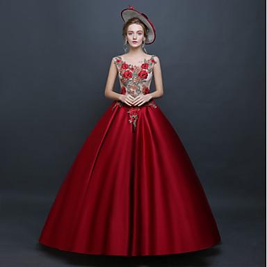 Prinsesse Rokoko Renessanse Kjoler Party-kostyme Maskerade Ballkjole Dame Kostume Rød Vintage Cosplay Ermeløs Gulvlang