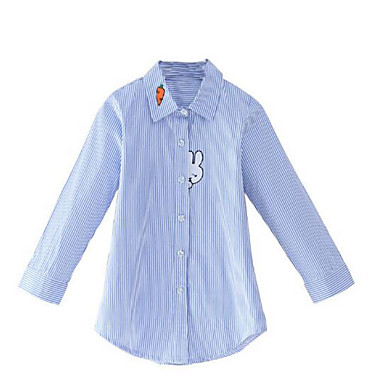 Howme Mens Long-Sleeve Juniors Striped Embroidery Cat Non-Iron Shirts
