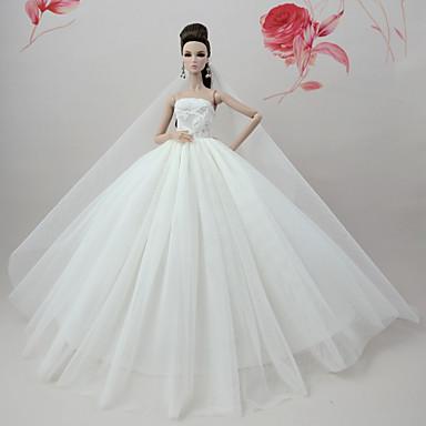 Φόρεμα κούκλα Φορέματα čvrsta Boja Γάμος Για Barbie Λευκό Τούλι Δαντέλα Μείγμα Μεταξιού / Βαμβακιού Φόρεμα Για Κορίτσια κούκλα παιχνιδιών