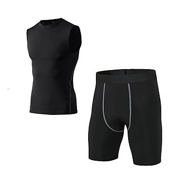 Ανδρικά Activewear Σετ Τζόγκινγκ ΑΘΛΗΤΙΚΑ ΡΟΥΧΑ Ικανότητα να αναπνέει Κολάν Ρούχα σύνολα Αμάνικο Σύντομη Pant Ρούχα Γυμναστικής Ελαστικό