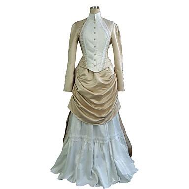 Δούκισσα Victorian 1910s Edwardian Φορέματα Σύνολα Γυναικεία Στολές Μπεζ Πεπαλαιωμένο Cosplay Μακρυμάνικο Μακρύ Μεγάλα Μεγέθη Προσαρμοσμένη / Κορυφή / Φόρεμα / Κορυφή / Φόρεμα