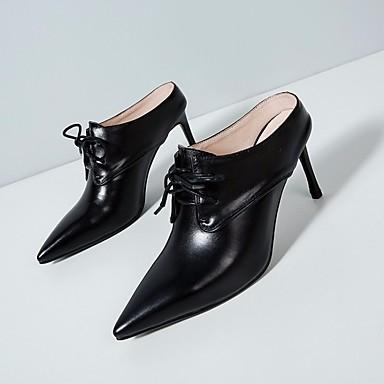 Mujer Zapatos Cuero de Napa Primavera / Verano Confort Zuecos y pantuflas Tacón Cuadrado Negro / Beige Z3n862dP75