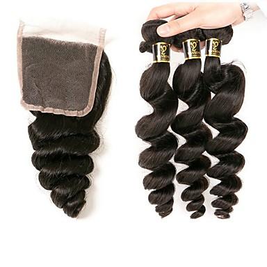 povoljno Ekstenzije od ljudske kose-3 paketi s zatvaranjem Brazilska kosa Wavy Valovita kosa Ljudska kosa 100% Remy kose tkanja Bundle Crna Prirodna boja Isprepliće ljudske kose dizajneri Rasprodaja Proširenja ljudske kose / 10A