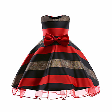 cheap Baby & Kids-Kids Girls' Casual Christmas Striped Christmas Sleeveless Dress Red / Cute