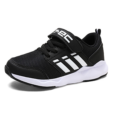Boys' Shoes PU Winter Fall Comfort Athletic Shoes Magic Tape Lace-up Athletic Outdoor Black Purple Black/White