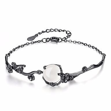 levne Dámské šperky-Dámské Nefritově zelená Měsíční kámen Řetězové & Ploché Náramky Kytky dámy Módní Slitina Náramek šperky Černá Pro Denní Formální