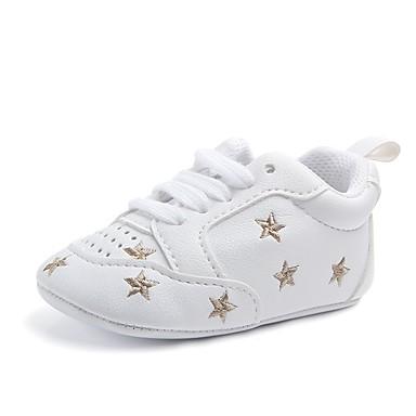 preiswerte Schuhe für Kinder-Mädchen Komfort / Lauflern / Kinderbett Schuhe Kunstleder Flache Schuhe Elastisch Schwarz / Silber / Rosa Frühling / Herbst