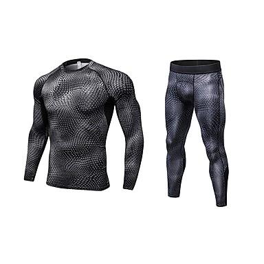 Herre Aktive Klær Sett Trening Sports Pusteevne Leggings Treningsdrakt Langermet Long Pant Sportsklær Elastisk