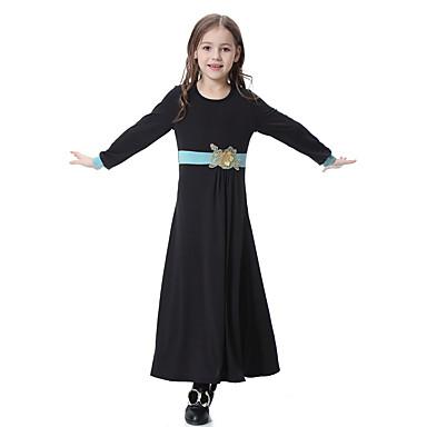 Παιδιά Κοριτσίστικα Μπόχο Καθημερινά Συνδυασμός Χρωμάτων Μακρυμάνικο Φόρεμα Βυσσινί