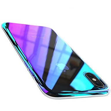 cheap iPhone Cases-Case For Apple iPhone X / iPhone 8 Plus / iPhone 8 Plating Back Cover Color Gradient Hard PC