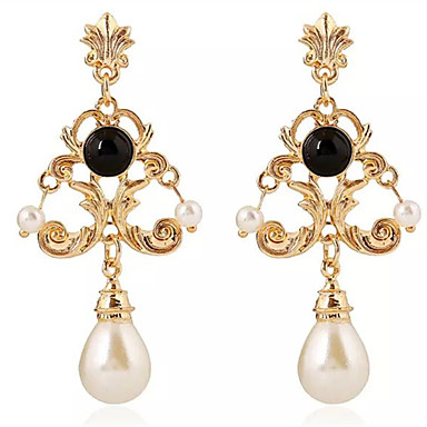 Women S Synthetic Tanzanite Drop Earrings Imitation Pearl Resin Asian Clic White Black For Evening Party Going Out 6560723 2018 3 99