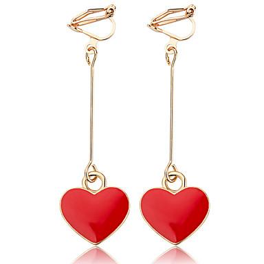 povoljno Modne naušnice-Žene Sintetički tanzanit Viseće naušnice Srce slatko Moda Smola Naušnice Jewelry Crn / Crvena Za Zabava / večer Izlasci