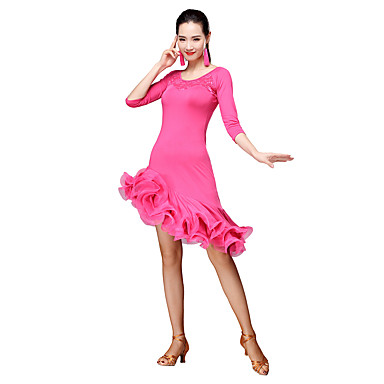 b22f620c3 Latin Dance Dresses Women s Training Milk Fiber Tassel 3 4 Length ...