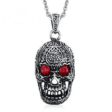 povoljno Modne ogrlice-Muškarci Ogrlice s privjeskom Izjava Ogrlice Graviranog Meksička lubanja šećera Vintage Punk Skeleton Titanium Steel Pink Ogrlice Jewelry 1 Za Zabava / večer Dnevno Karneval