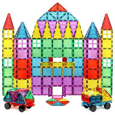 Blocos Magnéticos Azulejos magnéticos Blocos de Construir 60-128 pcs Teste padrão geométrico corpo transparente Para Meninos Para Meninas Brinquedos Dom