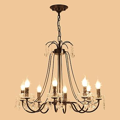 lightmyself ™ πολυέλαιος / φως μενταγιόν κεριού φωτισμένο με φωτισμό περιβάλλοντος φινίρισμα μεταλλικό κρύσταλλο 110-120v / 220-240v βολβός δεν συμπεριλαμβάνεται / e12 / e14