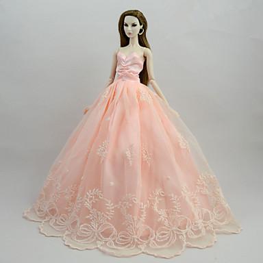 voordelige Poppenaccessoires-Poppenjurk Jurken Voor Barbie Flora Botanisch Roze Satijn / tule Poly / Katoen Kleding Voor voor meisjes Speelgoedpop