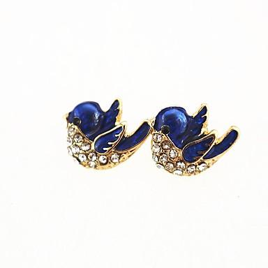 Γυναικεία Συνθετικό Diamond Κουμπωτά Σκουλαρίκια Πουλί κυρίες Γλυκός Προσομειωμένο διαμάντι Σκουλαρίκια Κοσμήματα Χρυσό Για Καθημερινά Εξόδου
