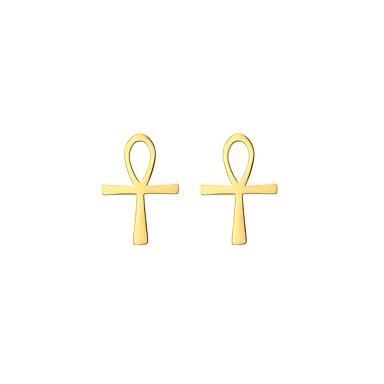 Γυναικεία Κουμπωτά Σκουλαρίκια Cruce κυρίες Απλός Επιχρυσωμένο Σκουλαρίκια Κοσμήματα Χρυσό / Ασημί Για Καθημερινά