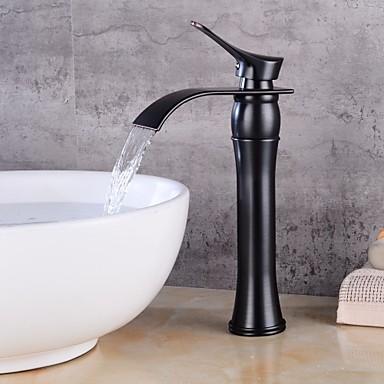 σύγχρονα centeret κεραμική βαλβίδα ενιαία λαβή μια τρύπα λαδομπογιά μπρούντζο ζωγραφική μαύρο, μπάνιο βρύση βρύσες βρύση βρύσες