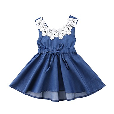 Νήπιο Κοριτσίστικα Ενεργό Καθημερινά Αργίες Μονόχρωμο Ζακάρ Εξώπλατο Φιόγκος Λουλούδι Αμάνικο Φόρεμα Θαλασσί / Χαριτωμένο