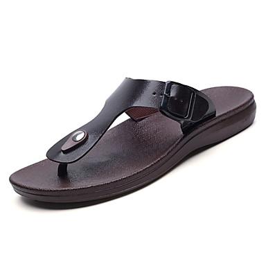 preiswerte Shoes Trends-Herrn Komfort Schuhe Leder Frühling / Sommer Slippers & Flip-Flops Schwarz / Braun