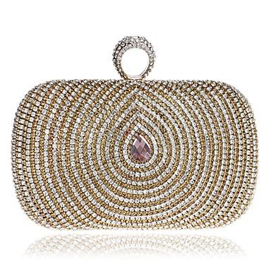 Γυναικεία Κουμπί / Κρυστάλλινη λεπτομέρεια Πολυεστέρας Βραδινή τσάντα Κρύσταλλο Βραδινά Τσάντες Κρυστάλλινα Χρυσό