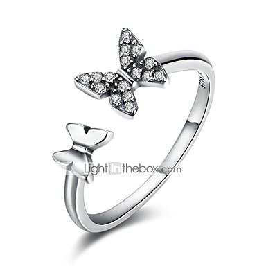 billige Motering-Dame Håndledd Ring vikle ring Kubisk Zirkonium liten diamant Sølv Zirkonium S925 Sterling Sølv damer Klassisk Grunnleggende Daglig Arbeid Smykker Sommerfugl