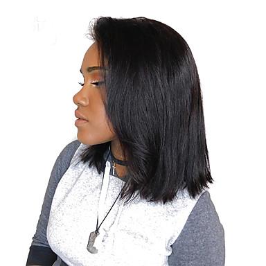Φυσικά μαλλιά Δαντέλα Μπροστά Περούκα στυλ Βραζιλιάνικη Ίσιο Φύση Μαύρο Περούκα 180% Πυκνότητα μαλλιών Γυναικεία Περούκες από Ανθρώπινη Τρίχα SunnyQueen / Ίσια
