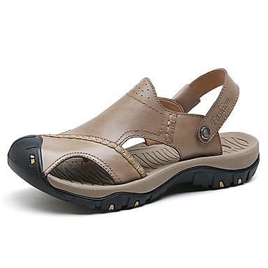 Hombre Zapatos Cuero de Napa Verano / Otoño Confort Sandalias Agua Negro / Marrón qMNVP2Kp