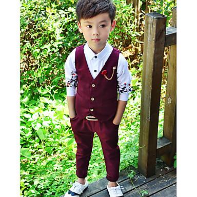 povoljno Odjeća za dječake-Dijete koje je tek prohodalo Dječaci Jednostavan Jednobojni Moderna Bez rukávů Komplet odjeće Sive boje