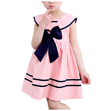 cheap Baby & Kids-Kids Girls' Simple Casual Daily School Solid Colored Striped Bow Pleated Sleeveless Dress Blue / Cotton