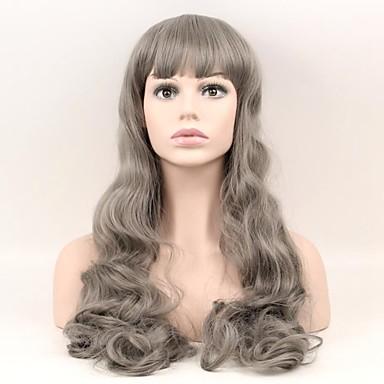 Συνθετικές Περούκες Φυσικό Κυματιστό Φυσικό Κυματιστό Περούκα Μακρύ Γκρι Συνθετικά μαλλιά Γυναικεία Φυσική γραμμή των μαλλιών Γκρι