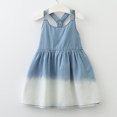 Νήπιο Κοριτσίστικα Ενεργό Βασικό Μπόχο Καθημερινά Εξόδου Μονόχρωμο Στάμπα Εξώπλατο Με κοψίματα Πεπαλαιωμένο Στυλ Αμάνικο Φόρεμα Θαλασσί