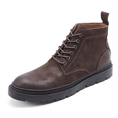 Hombre Zapatos Cuero de Napa Invierno Botas de Combate Botas Negro / Marrón 2SZfMk