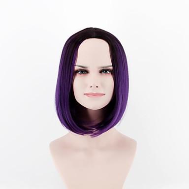 Syntetiske parykker Rett Rett Parykk Kort Lilla Syntetisk hår Dame Naturlig hårlinje Lilla
