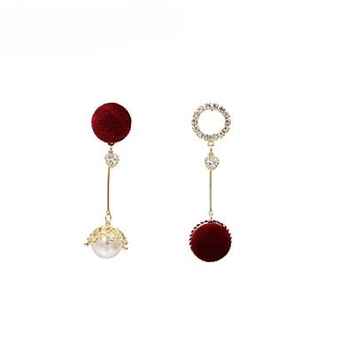 levne Dámské šperky-Dámské Perla Visací náušnice Neshoda dámy Módní Perly Náušnice Šperky Červená Pro Dar Denní