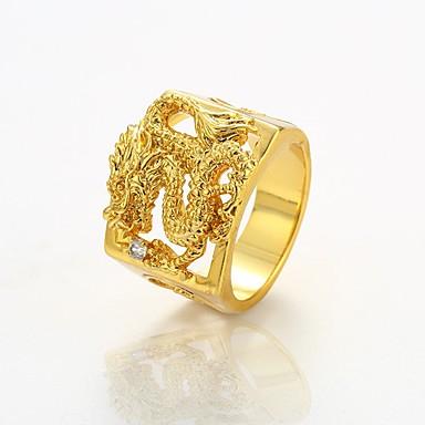 4738741fea4f [$10.49] Hombre Anillo de declaración Chapado en Oro Dragón Rock Anillos de  Moda Joyas Dorado Para Calle Discoteca 9 / 10 / 11 / 12
