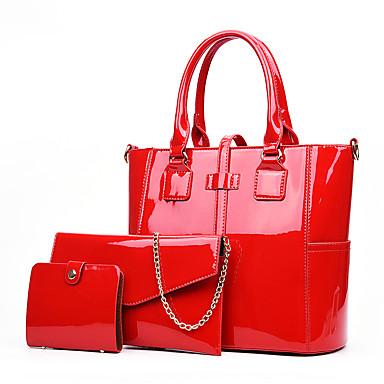 cheap Bag Sets-Women's Bags PU Leather / Patent Leather Bag Set 3 Pcs Purse Set Zipper for Shopping Black / Blue / Purple / Red / Bag Sets