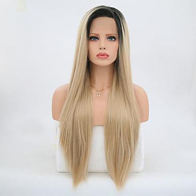 Συνθετικές μπροστινές περούκες δαντέλας Ίσιο Ίσια Δαντέλα Μπροστά Περούκα Ξανθό Μακρύ Μαύρο και Χρυσό Συνθετικά μαλλιά Γυναικεία Ξανθό