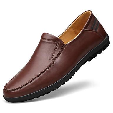 Hombre Zapatos Cuero Nobuck Todas las Temporadas Confort / Zapatos formales Zapatos de taco bajo y Slip-On Negro / Marrón / Boda DEswr3